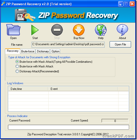 interface of ZIP Password Recovery