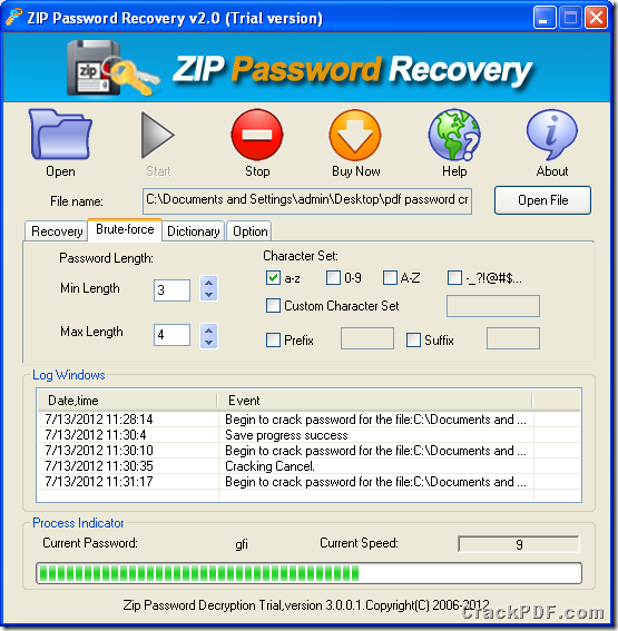 How do I recover password to open pdf file