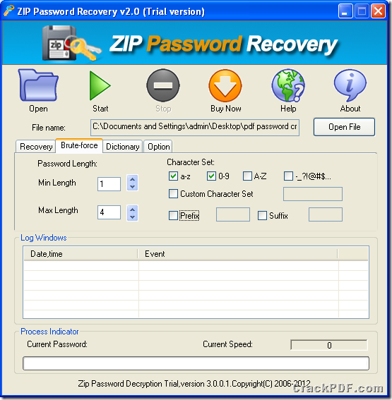 set parameters to crack ZIP password