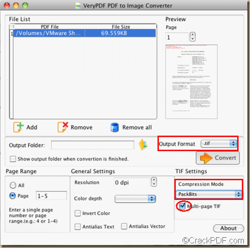 setting of pdf to tiff