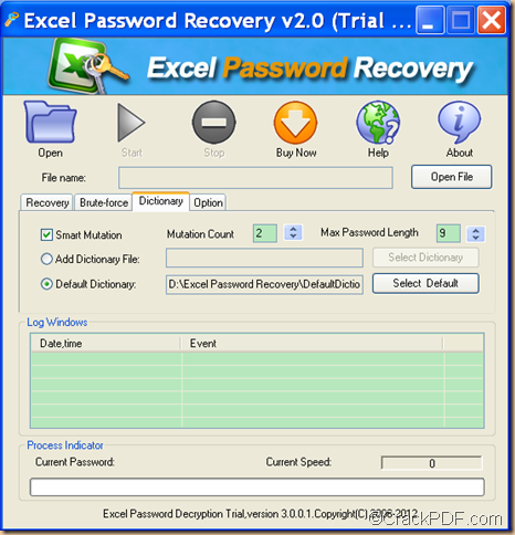 decrypt encrypted Excel using CrackPDF Excel Password Recovery