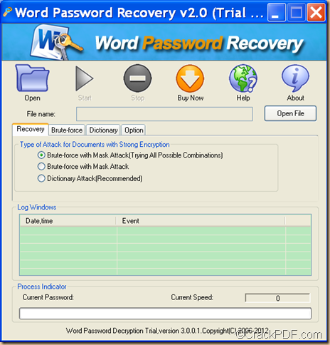 decrypt password protected Word using CrackPDF Word Password Recovery