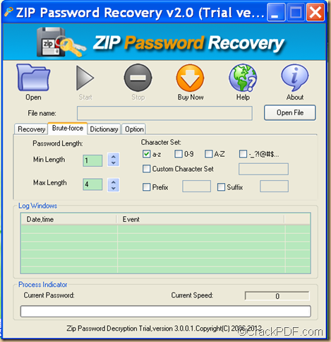 decrypt password protected ZIP using Crack PDF ZIP Password Recovery