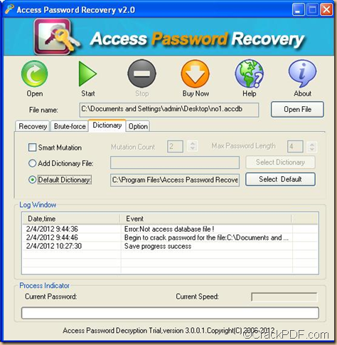 recover Access database password using Access Password Recovery