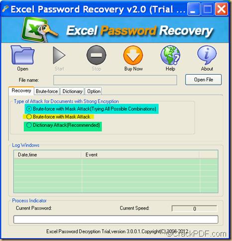 recover Excel password using CrackPDF Excel Password Recovery