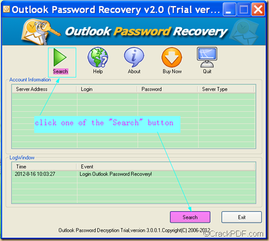 recover Microsoft Outlook email password using  CrackPDF Outlook Password Recovery