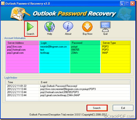 recover Outlook email password using CrackPDF Outlook Password Recovery