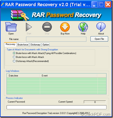 recover WinRAR archive password using RAR Password Recovery