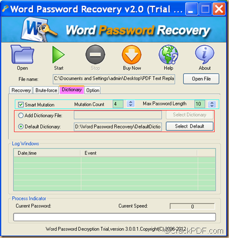 recover Word password using CrackPDF Word Password Recovery
