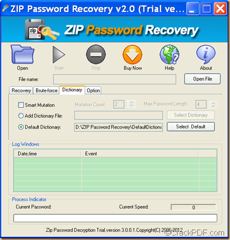 recover ZIP password using Crack PDF ZIP Password Recovery