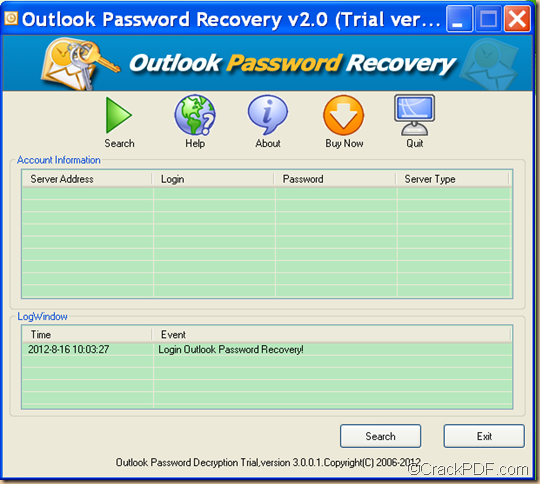 recover data for Microsoft Outlook by CrackPDF Outlook Password Recovery