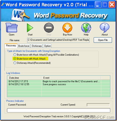 recover forgotten Word password using CrackPDF Word Password Recovery