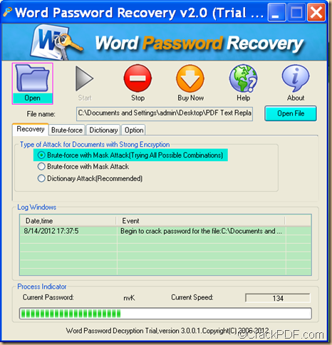recover forgotten password using CrackPDF Word Password Recovery