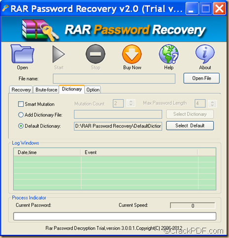 recover password for encrypted RAR using RAR Password Recovery