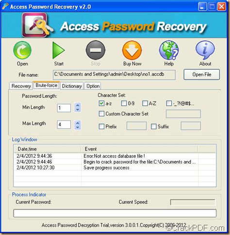 remove password from  MS Access database documents using Access Password Recovery