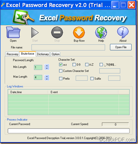 retrieve Excel password using CrackPDF Excel Password Recovery