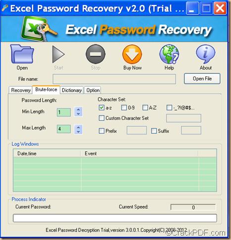 retrieve Excel password using CrackPDF Excel Password Recovery