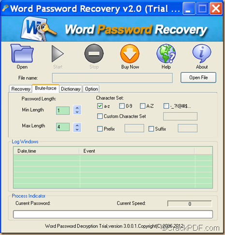 retrieve Word password using CrackPDF Word Password Recovery