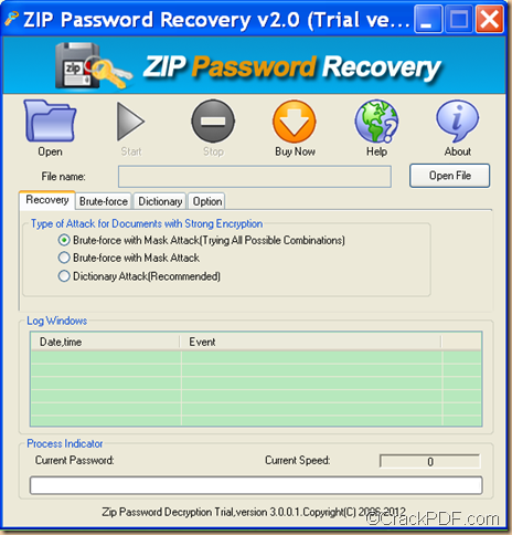 retrieve ZIP password using Crack PDF ZIP Password Recovery