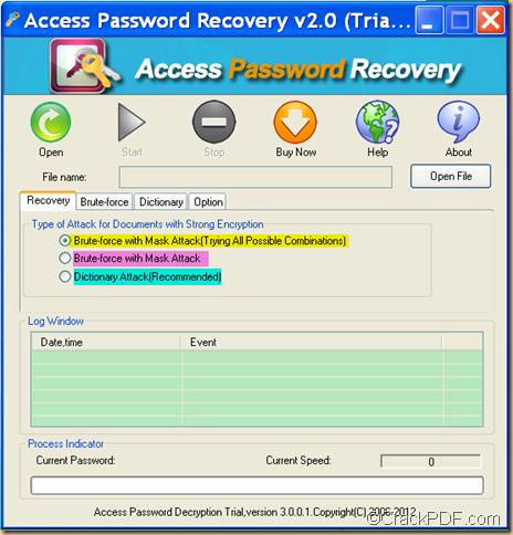 retrieve password using Access Password Recovery