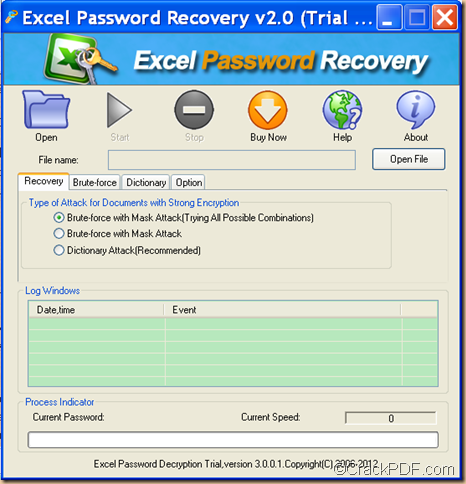 recover Excel password using CrackPDF Excel Password Recovery