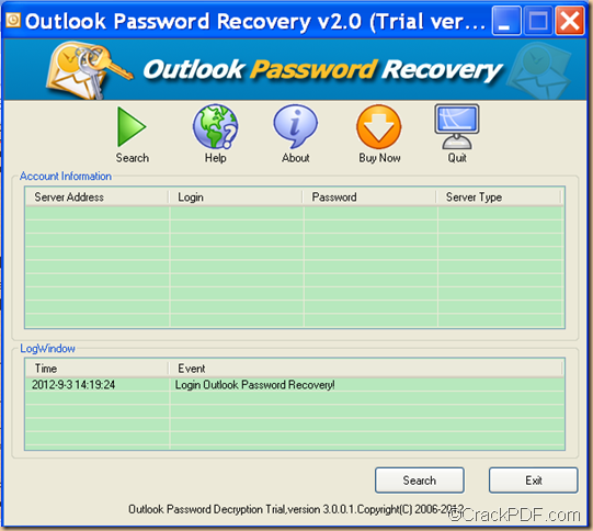 recover Outlook password for Outlook email using CrackPDF Outlook Password Recovery