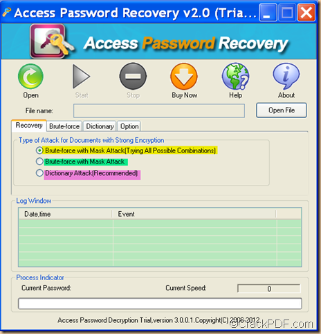 recover password for Access document using Access Password Recovery