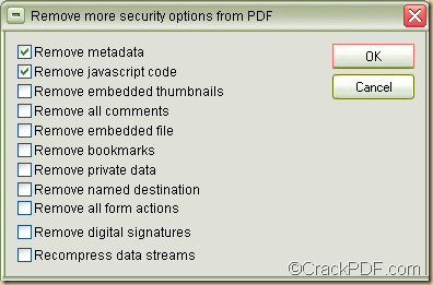 remove PDF password and other security data