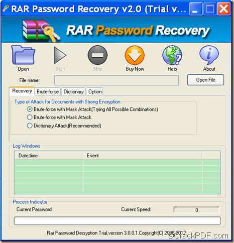 restore RAR password using RAR Password Recovery