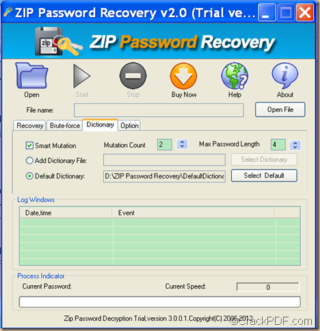 restore ZIP password by dictionary