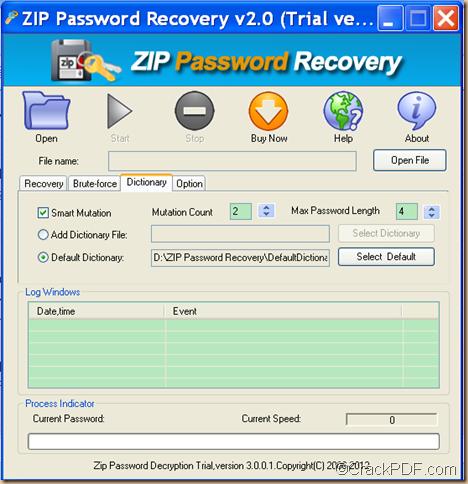restore ZIP password by dictionary