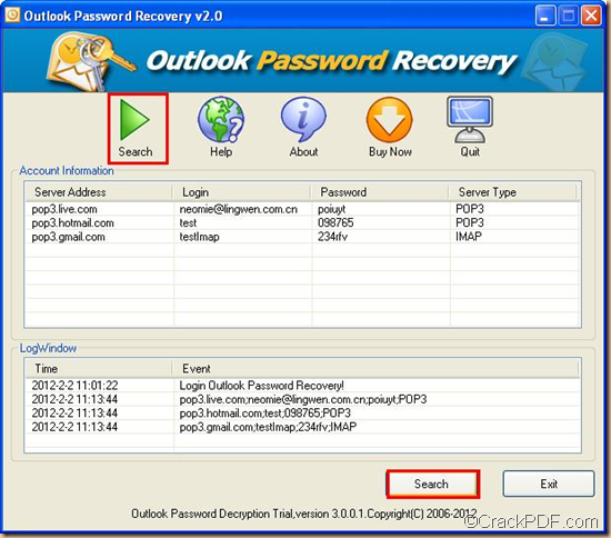 restore password for MS Outlook email accounts using CrackPDF Outlook Password Recover