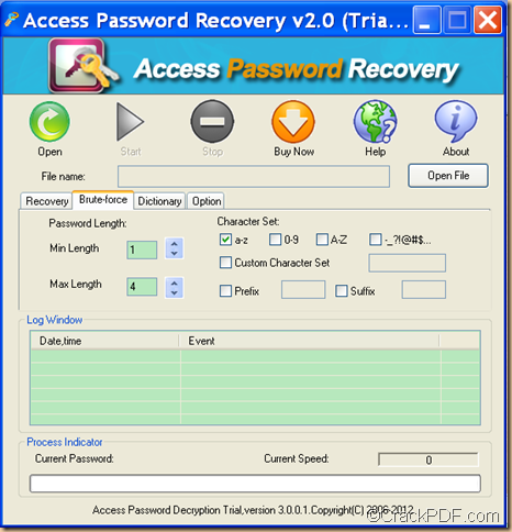 retrieve Access password using Access Password Recovery