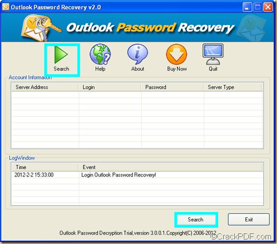 retrieve Outlook password using CrackPDF Outlook Password Recovery