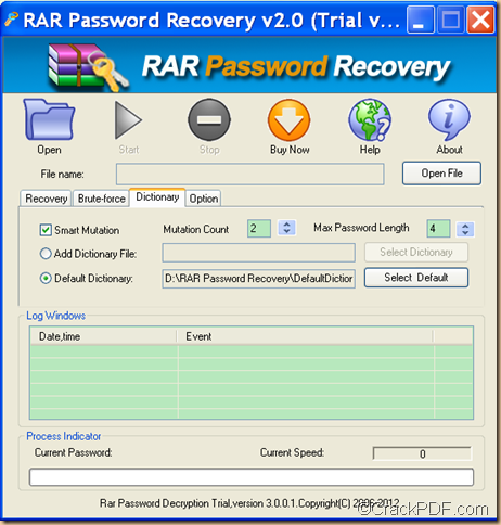 retrieve RAR password using dictionary method