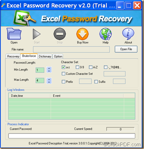 retrieve password using CrackPDF Excel Password Recovery