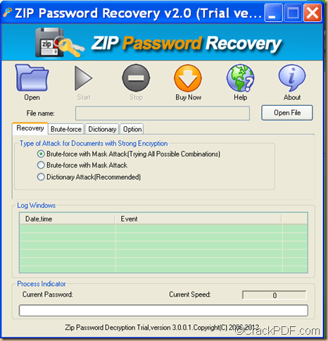 the interface of Crack PDF ZIP Password Recovery