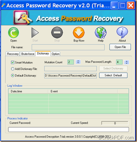 unlock Access MDB file using Access Password Recovery
