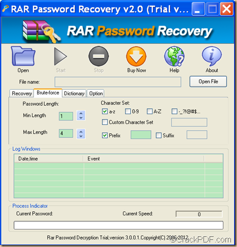 unlock encrypted RAR archive using brute-force attack