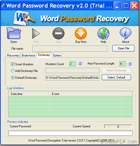 unlock encrypted Word using CrackPDF Word Password Recovery